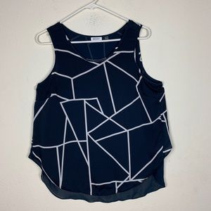 DKNYC-Navy Blue Abstract Blouse size Medium